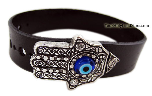 Leather Bracelet with Evil Eye and Hamsa
